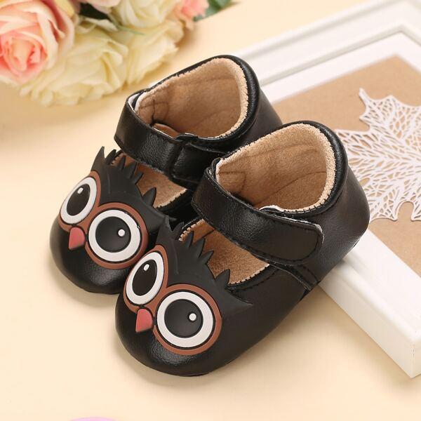 Baby Girl Cartoon Design Velcro Strap Flats, Black