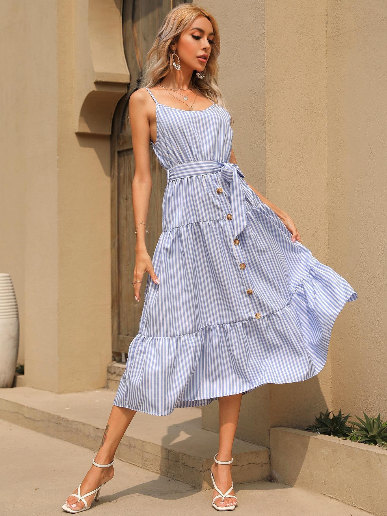 striped print ruffle hem belted cami dress