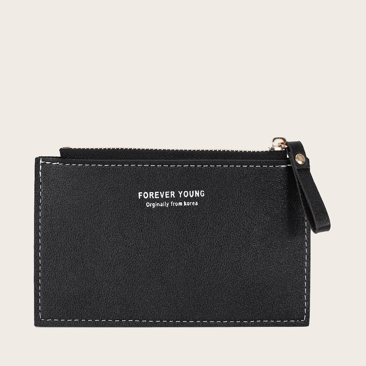 Короткий кошелек с текстовым принтом для девочек