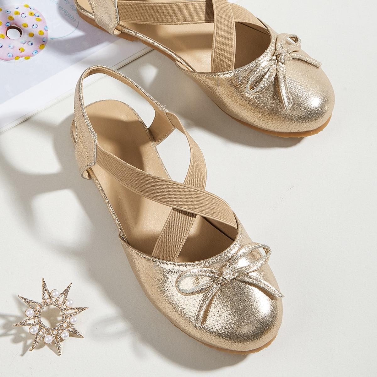 Металлические туфли на плоской подошве с бантом для девочек от SHEIN