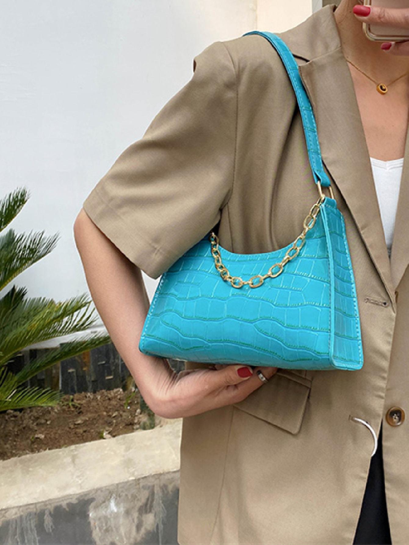 chain decor croc embossed shoulder bag