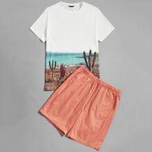 Guys Graphic Print Top & Drawstring Waist Shorts Set