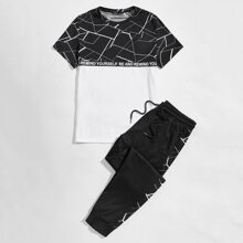 Guys Letter and Colorblock Graphic Tee & Sweatpants Set