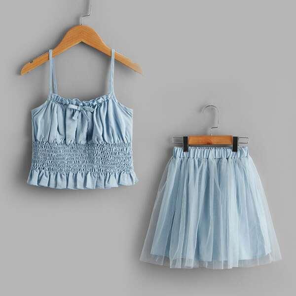 Girls Shirred Ruffle Hem Cami Top & Mesh Overlay Skirt, Baby blue