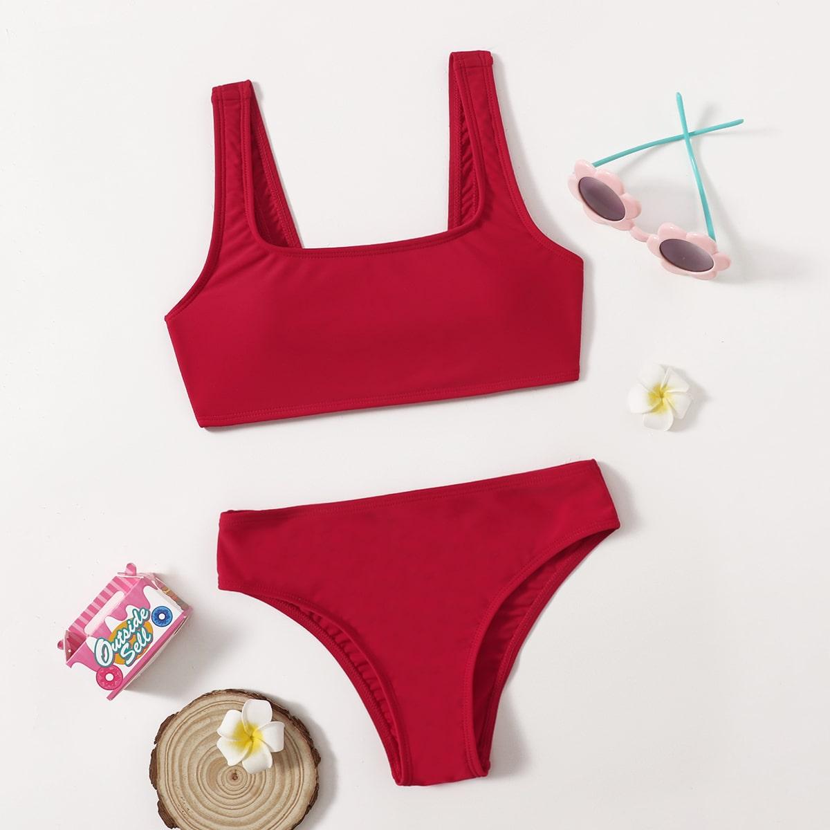 Girls Square Neck Bikini Swimsuit, SHEIN  - buy with discount