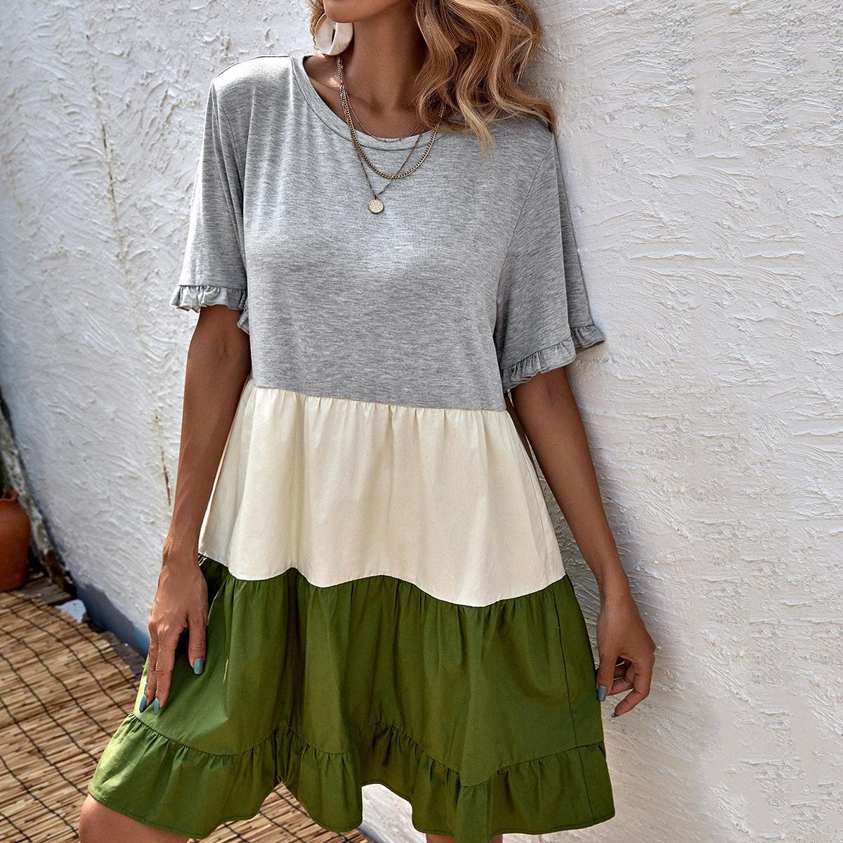 Платье комбинированным принтом SheIn swdress44210406157