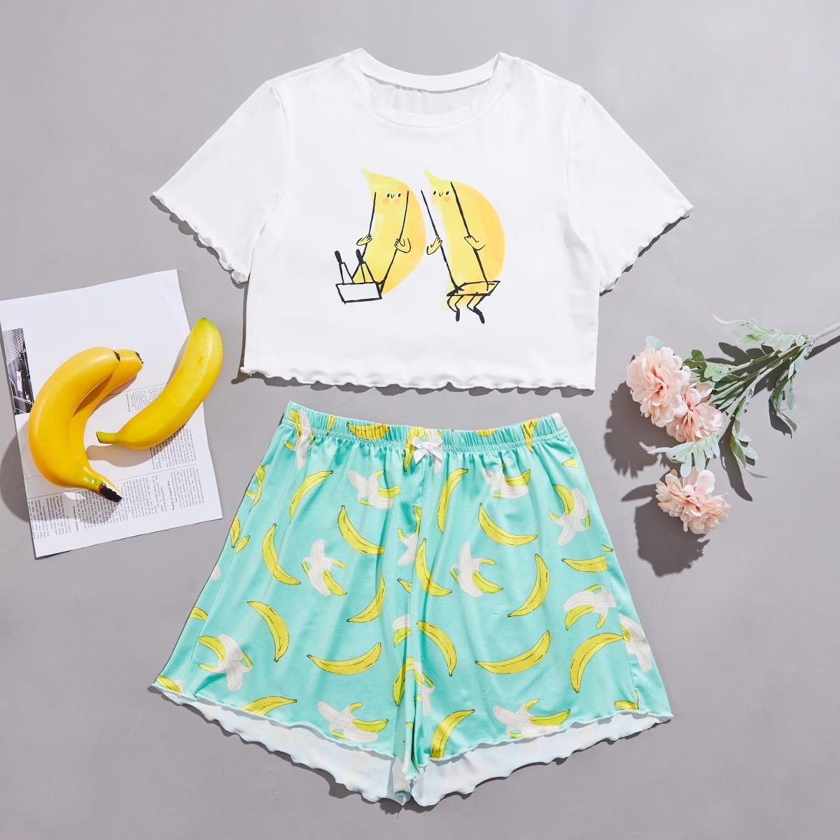 SHEIN / Lettuce Trim Banana Print Pajama Set