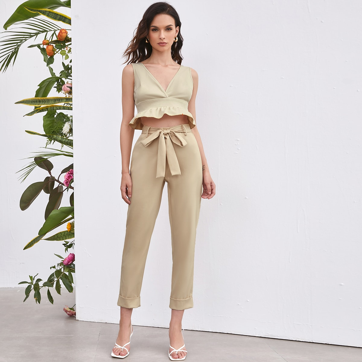Solid Belted Tapered Pants