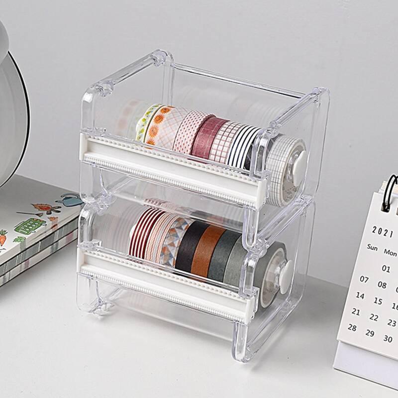 1pc Transparent Tape Dispenser, Clear