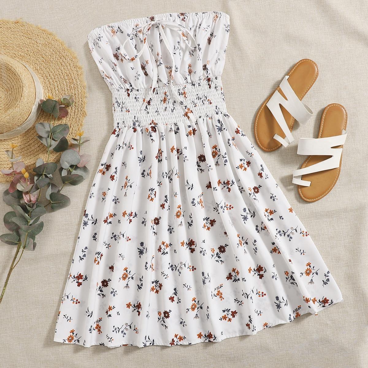 Платье-бандо с цветочным принтом SheIn swdress25201222260