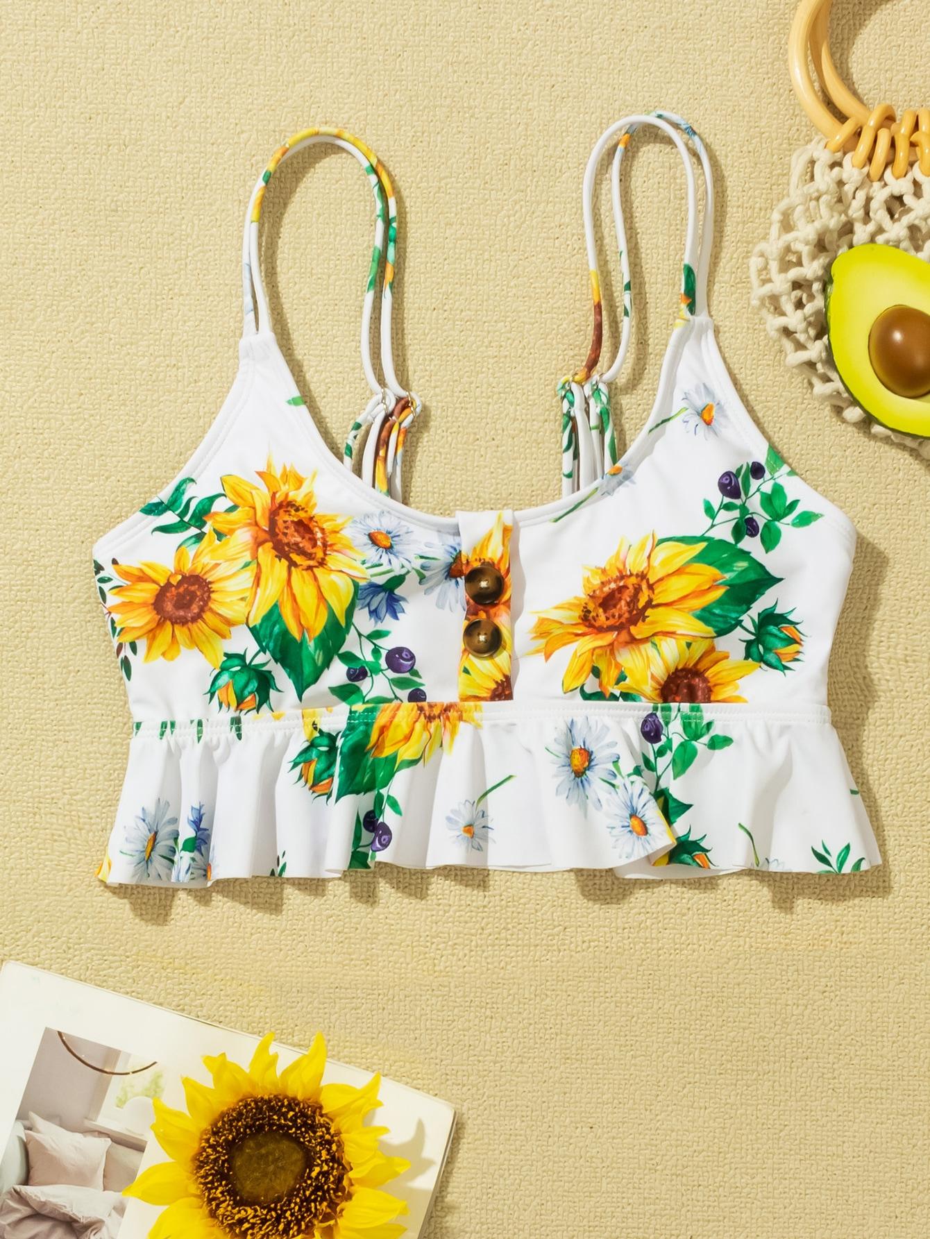 Sunflower Random Print Ruffle Hem Tankini Top