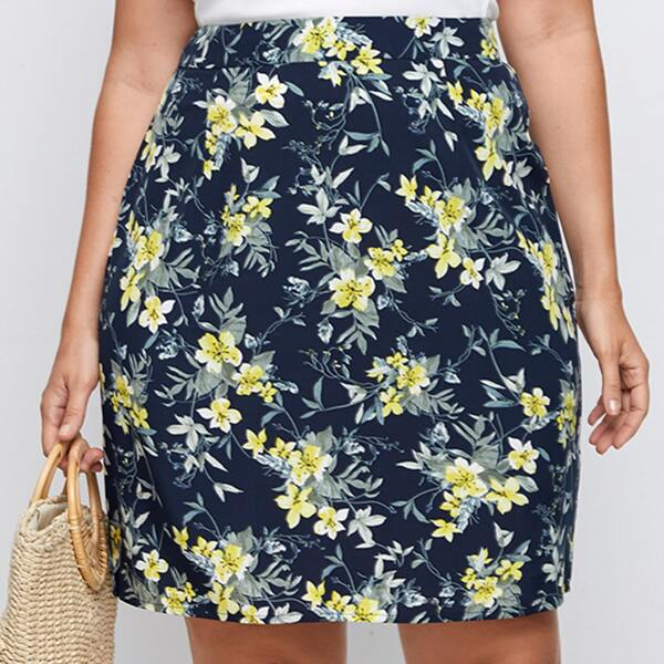 Plus Floral Print Split Back Skirt, Multicolor