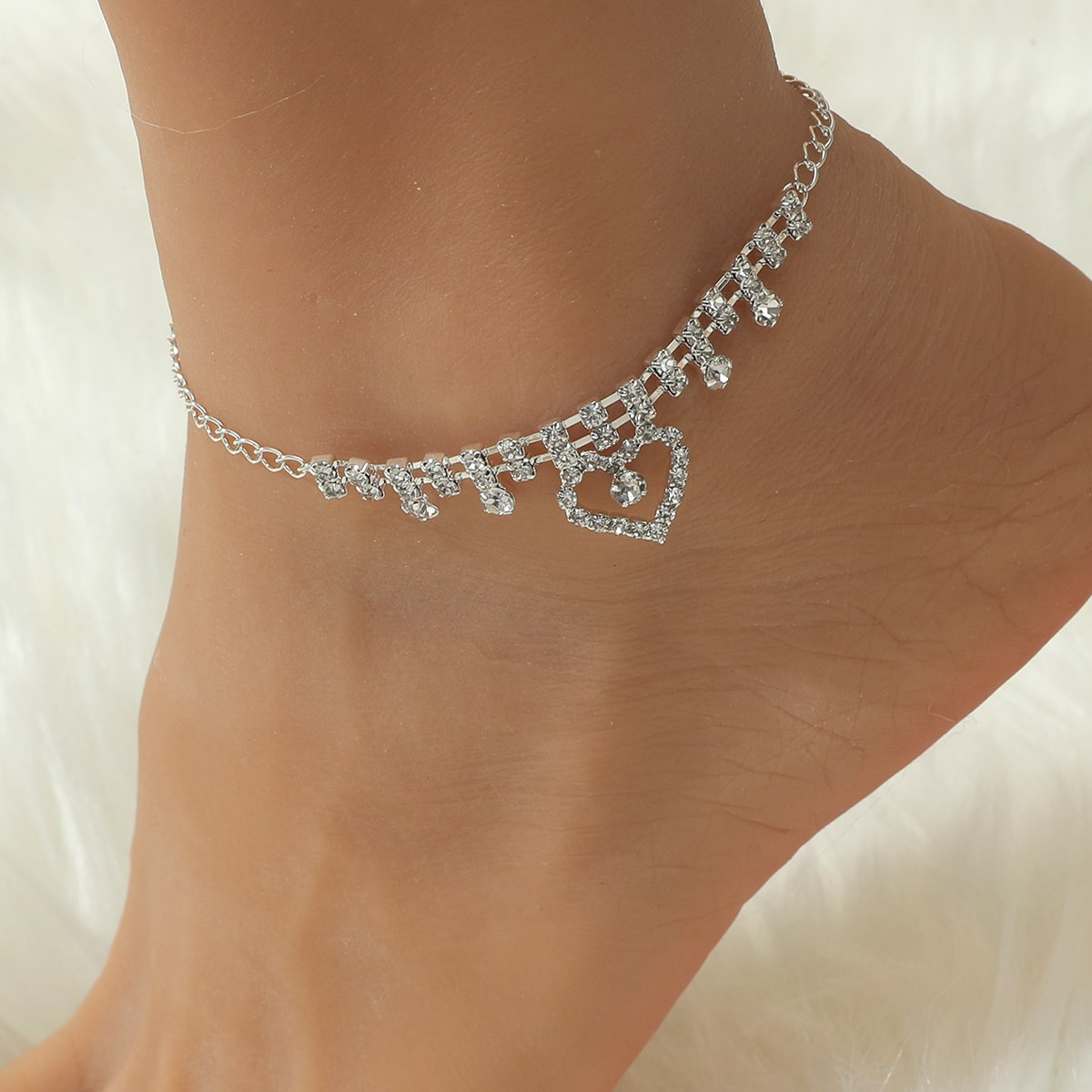 Zircon Heart Decor Anklet, SHEIN  - buy with discount
