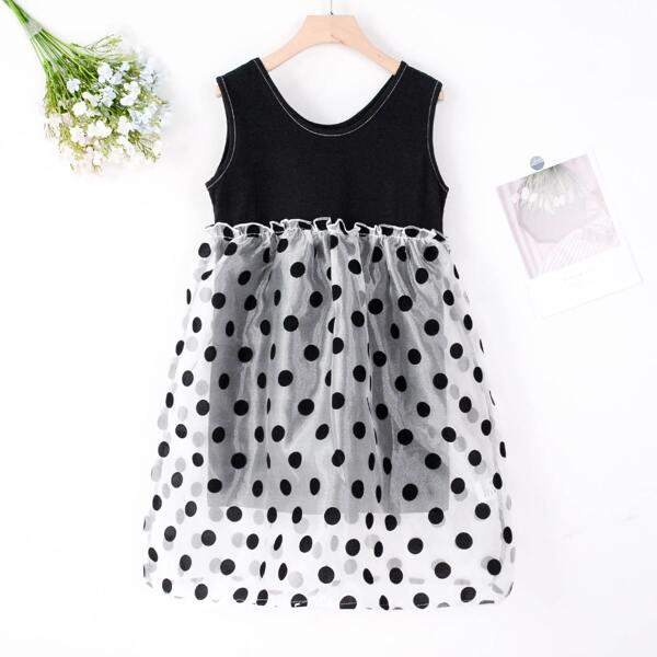 Girls Contrast Polka Dot Mesh Dress, Black and white