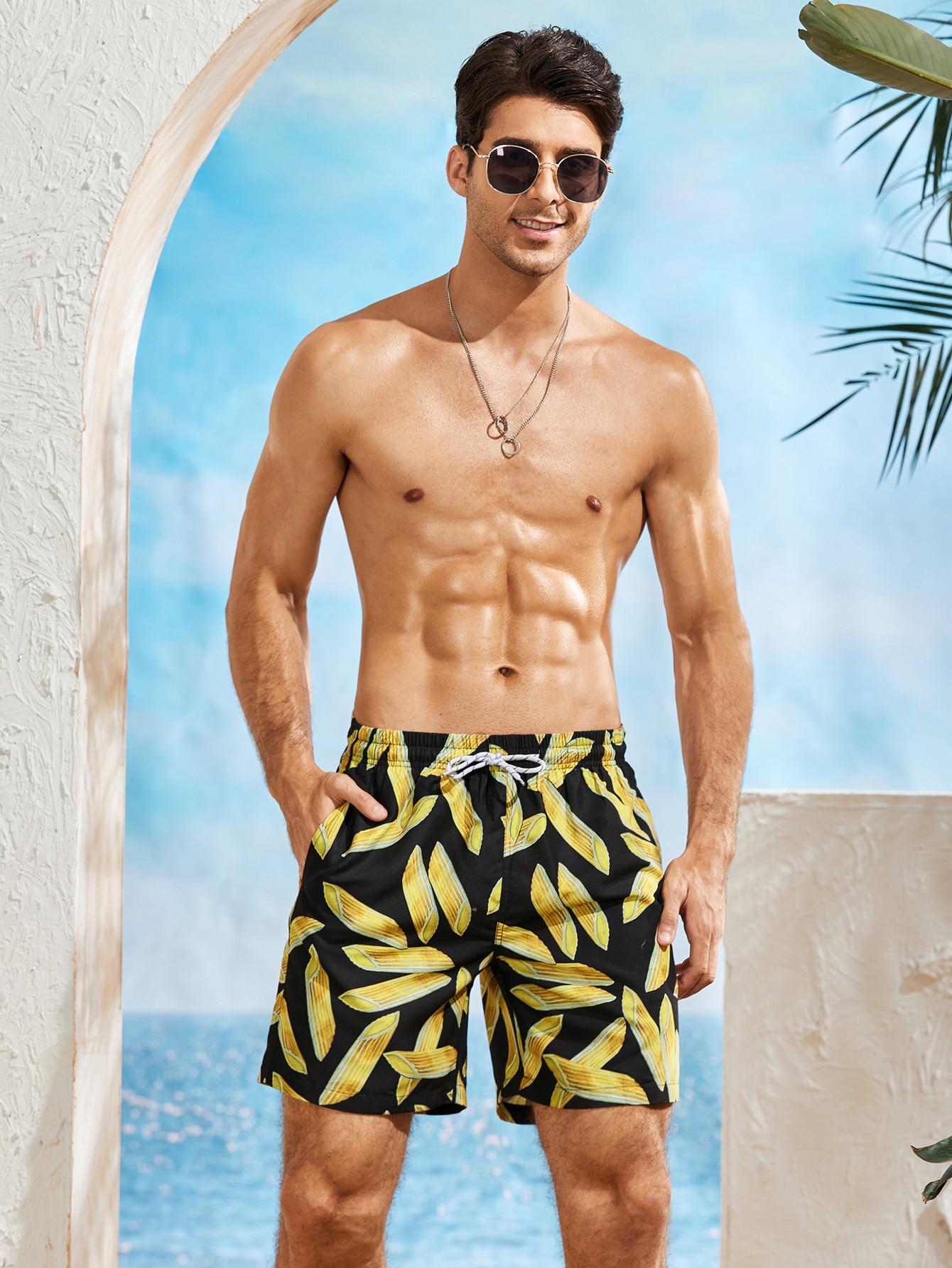 men allover print drawstring swim trunks