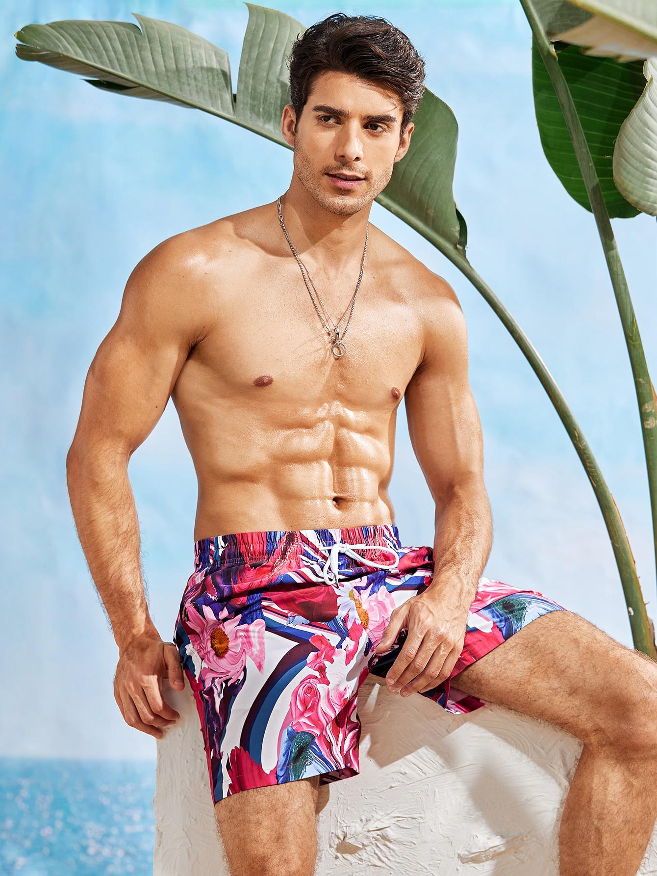 men floral print drawstring swim trunks