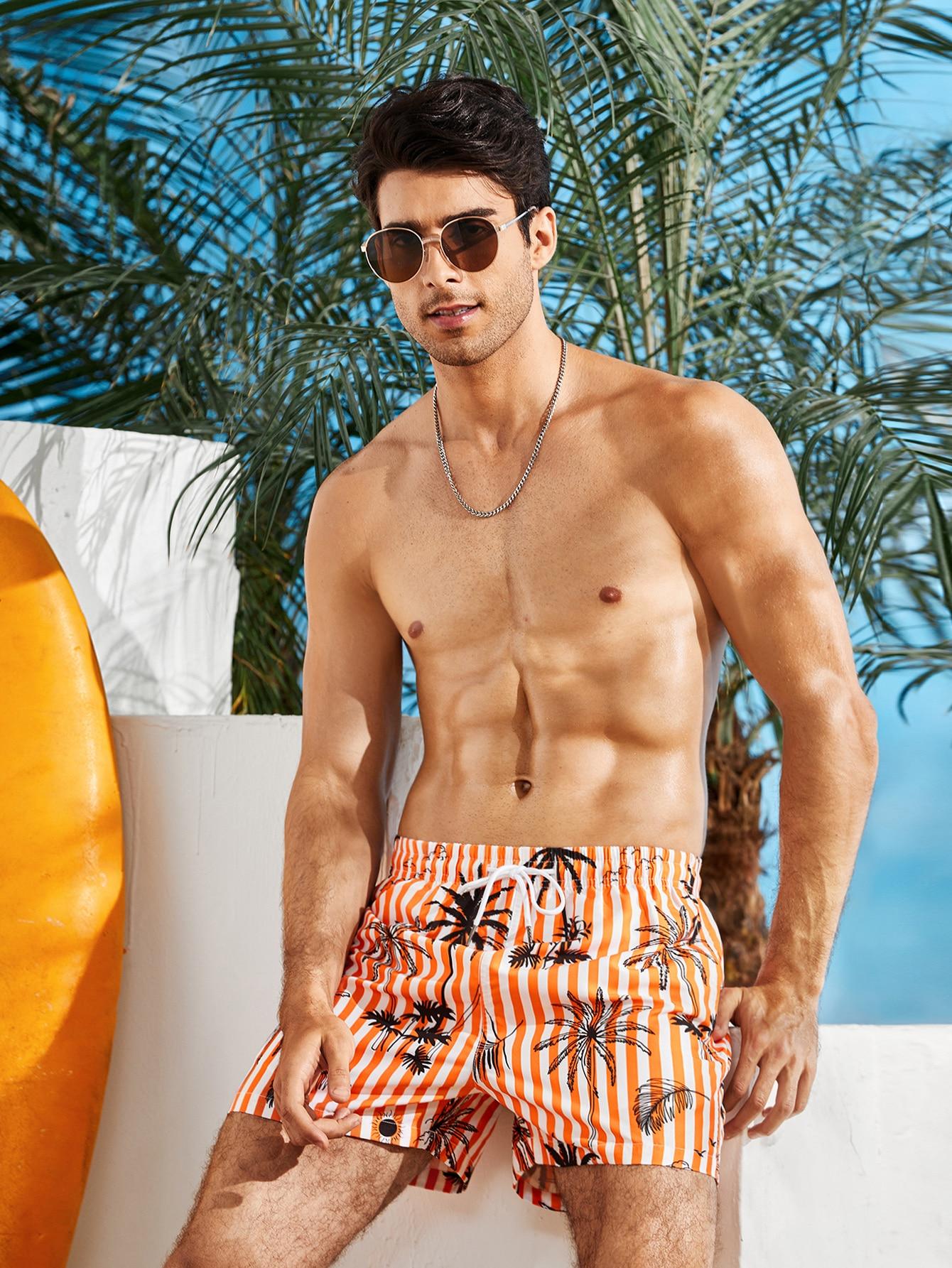 men striped & tropical drawstring swim trunks