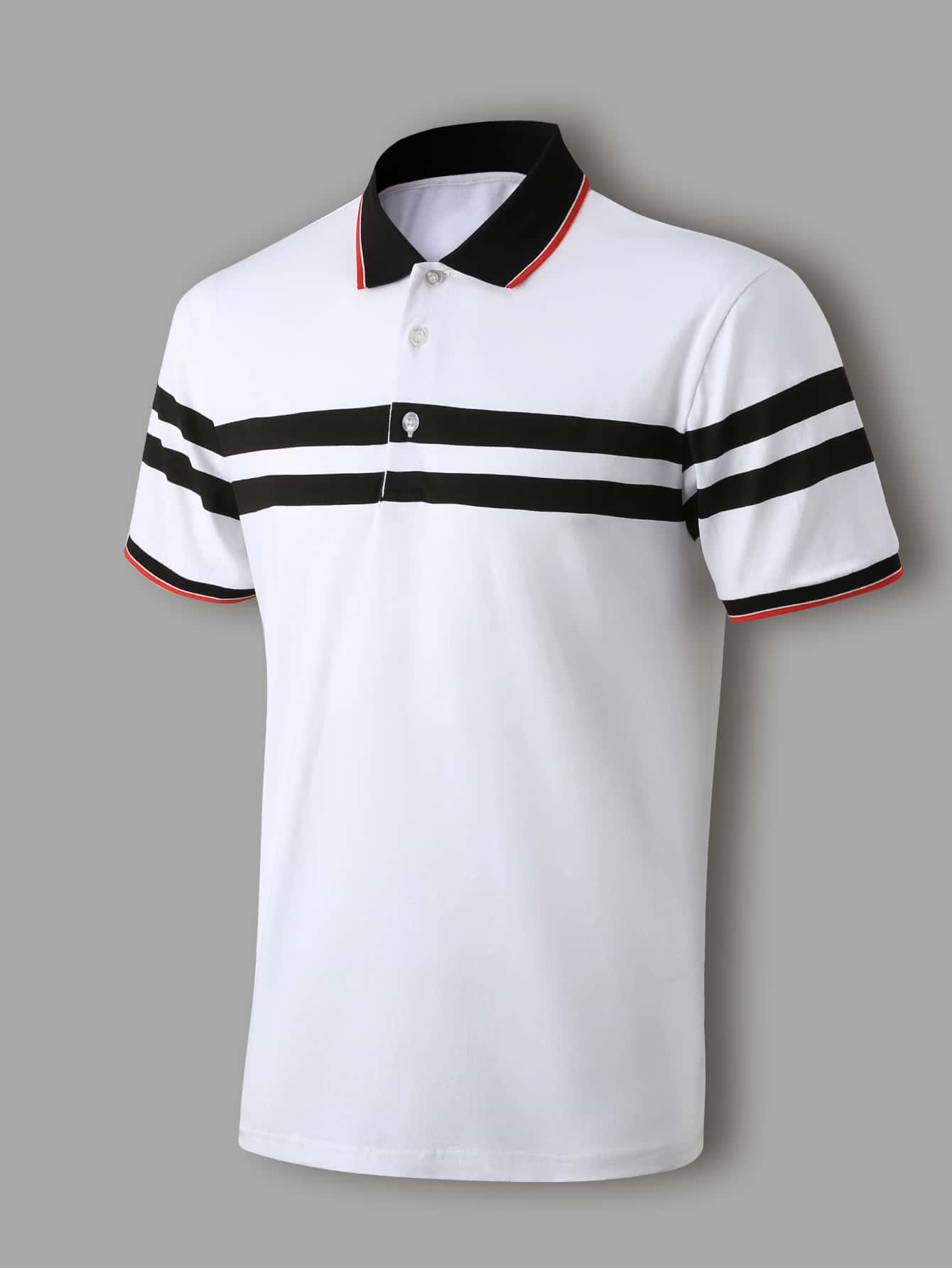 men striped print polo shirt