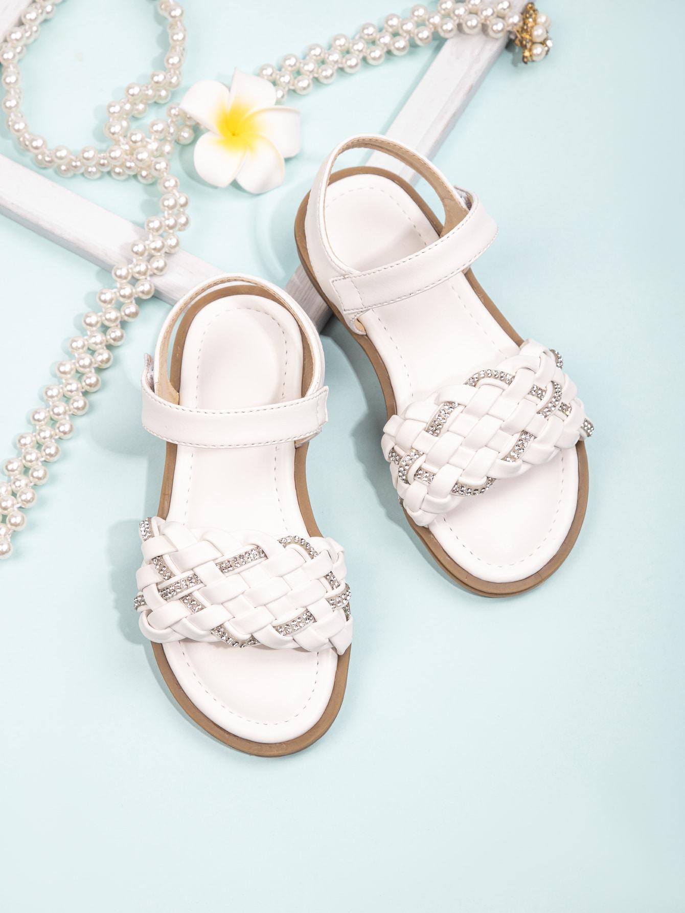 Girls Rhinestone Decor Braided Sandals