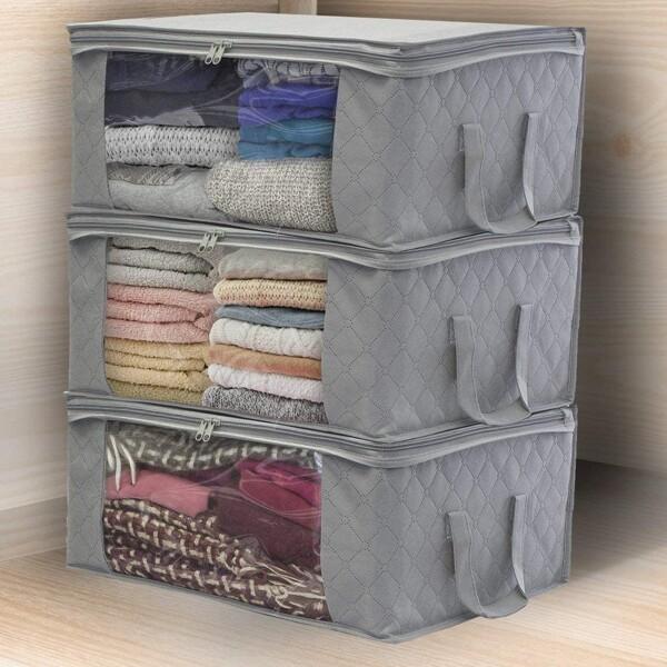1pc Foldable Clothes Storage Box, Grey
