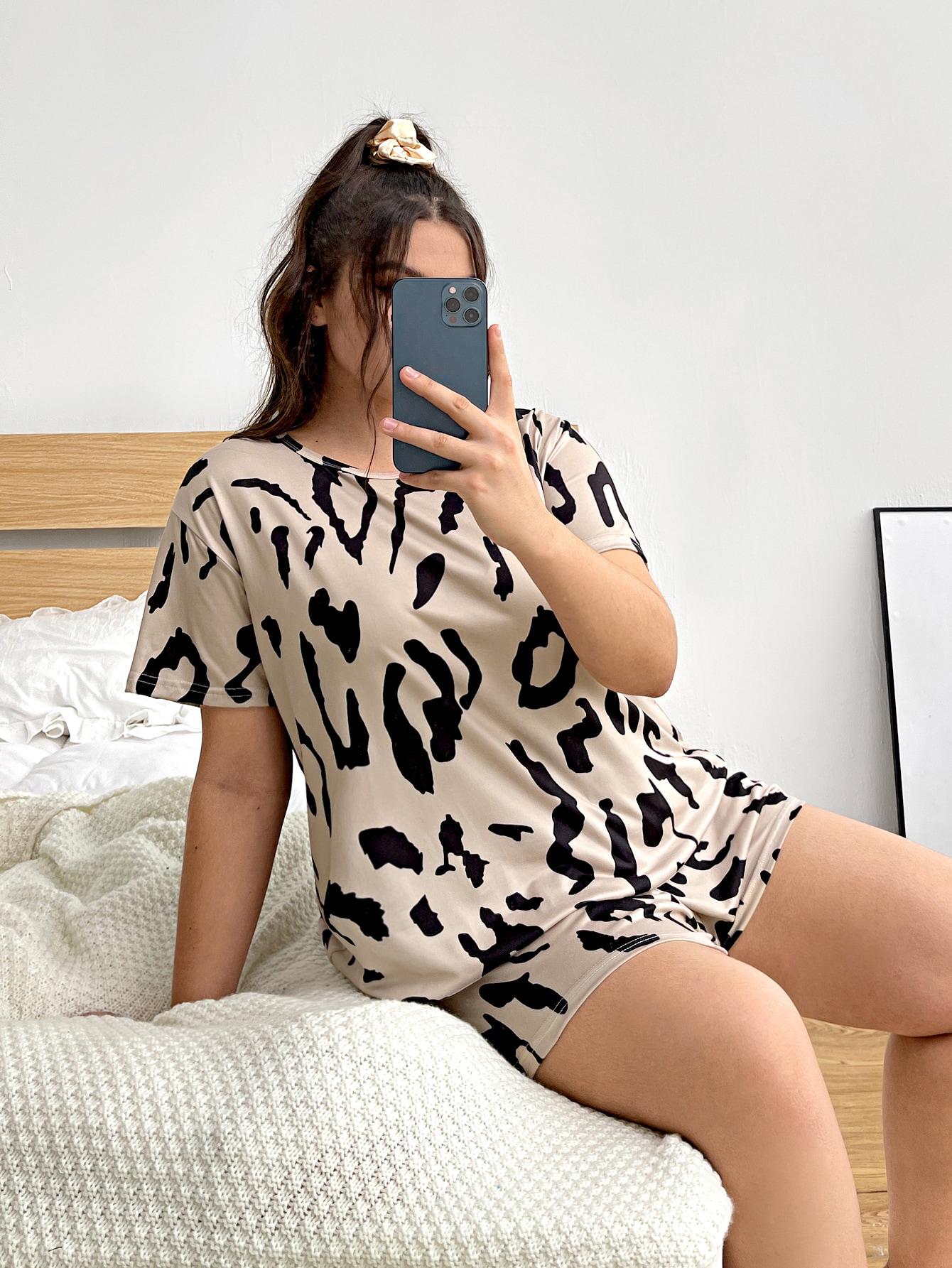 Plus Allover Print Pajama Set