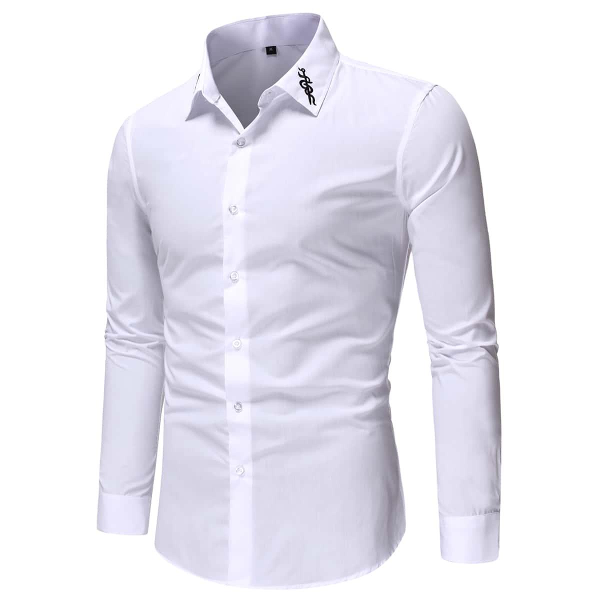 с вышивкой Пуговица графический принт Повседневный Мужские рубашки