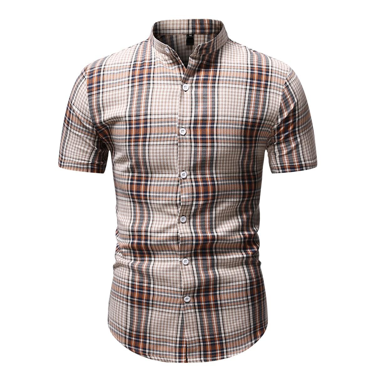 Пуговица Клетчатый Институтский Мужские рубашки SheIn smshirt25210408832