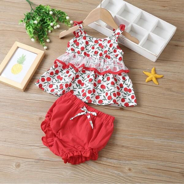 Baby Girl Cherry Print Mesh Panel Cami Top & Shorts, Multicolor