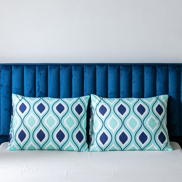 1pair Wave Pattern Pillowcase Without Filler, Multicolor