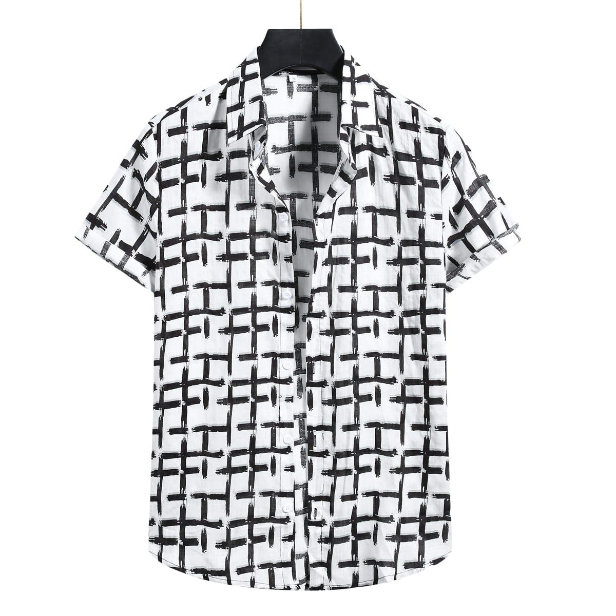 Мужской Рубашка в клетку на пуговицах SheIn smshirt25210329518