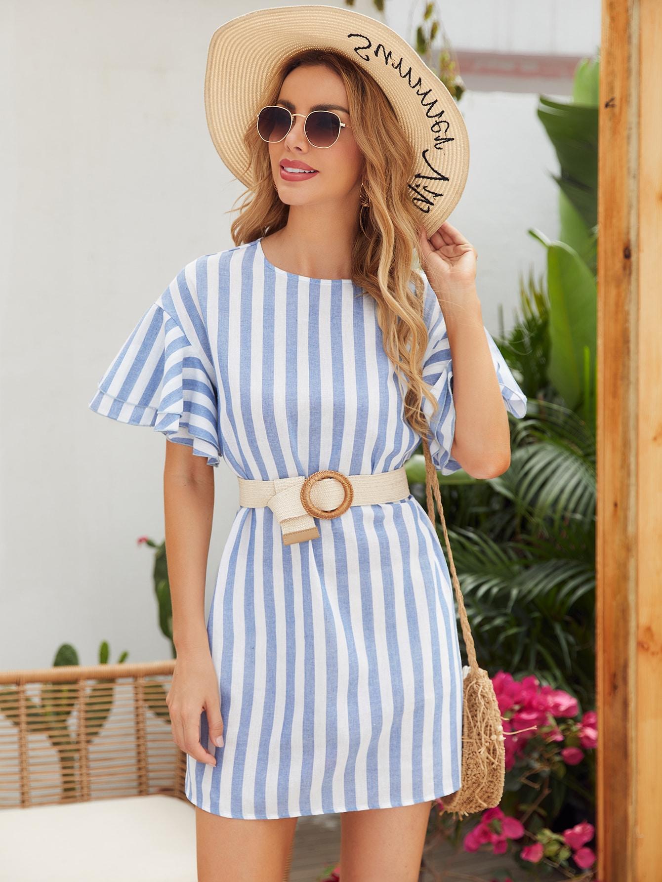 butterfly sleeve striped dress without belt