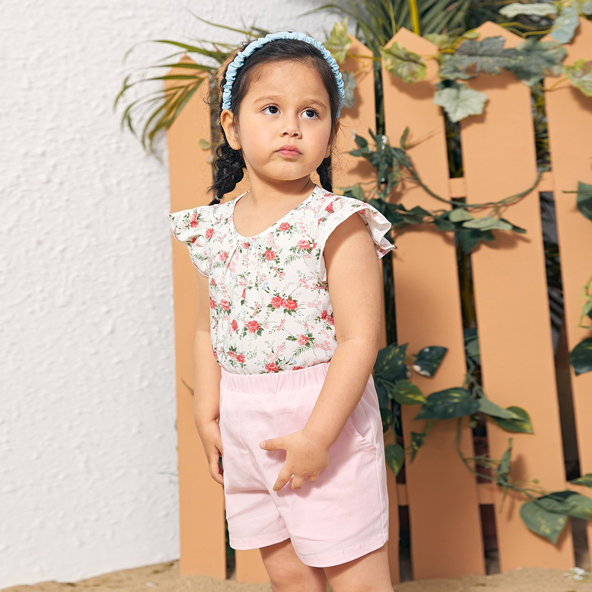 Toddler Girls Ruffle Armhole Floral Top