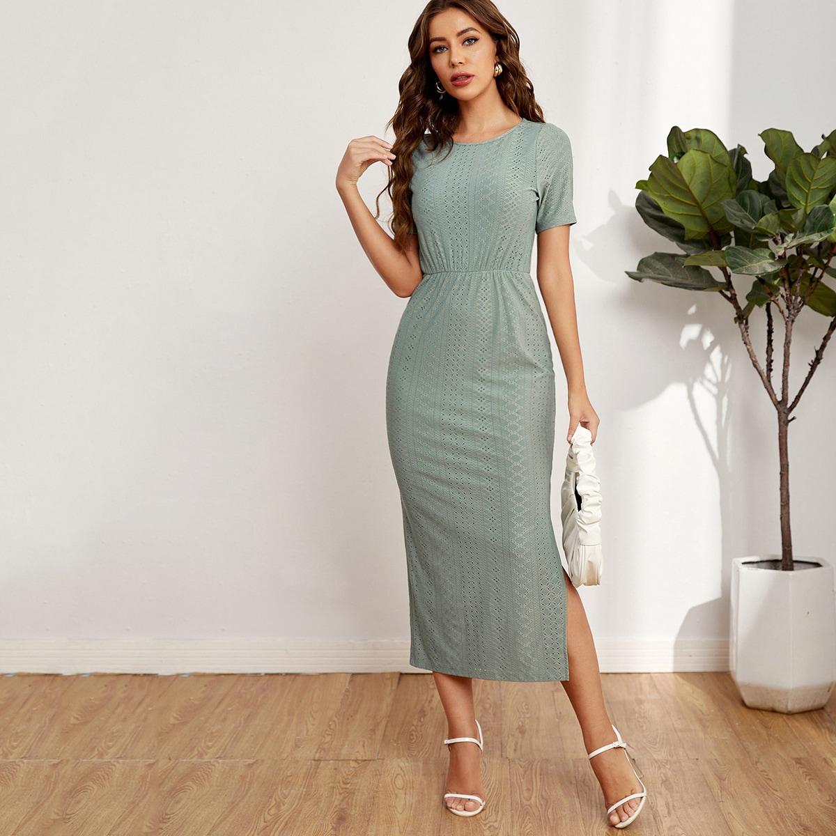 Вязаное платье с разрезом SheIn swdress07210331475