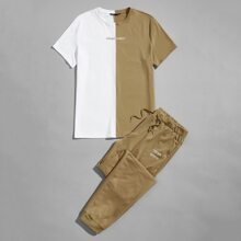 Guys Color Block Embroidered Letter Tee & Pants Set