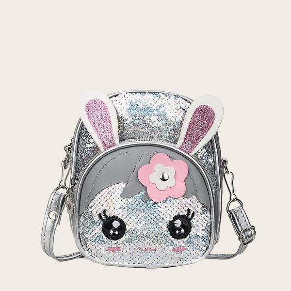 Girls Allover Sequin Decor Cartoon Rabbit Design Backpack, Silver