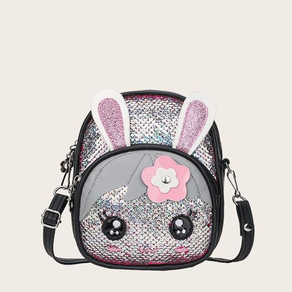 Girls Allover Sequin Decor Cartoon Rabbit Design Backpack, Multicolor