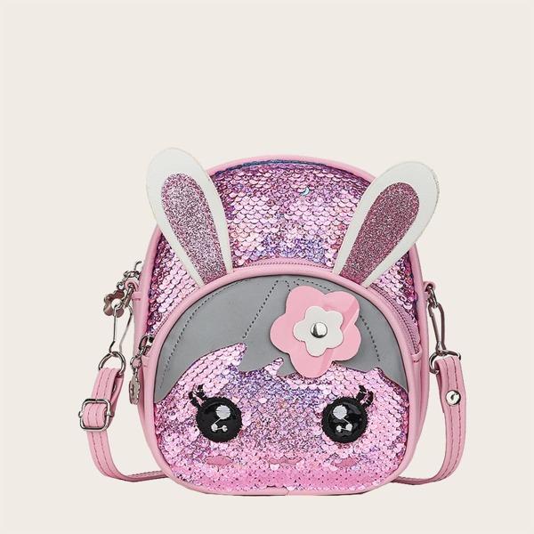 Girls Allover Sequin Decor Cartoon Rabbit Design Backpack, Pink
