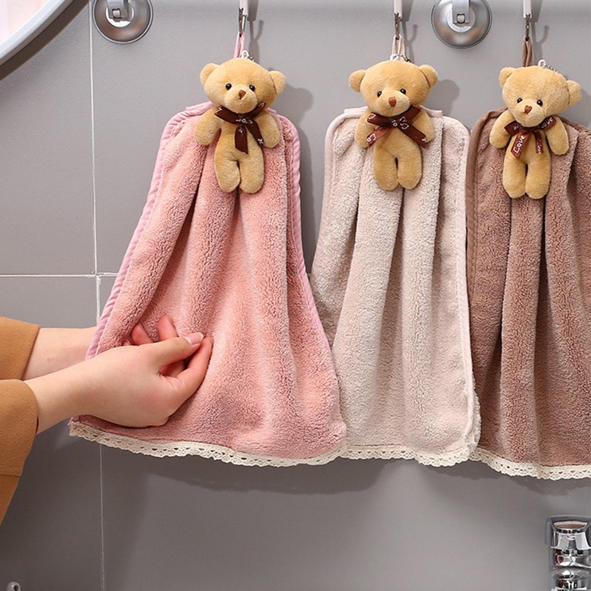 1Pc Bear Decor Random Color Hand Towel