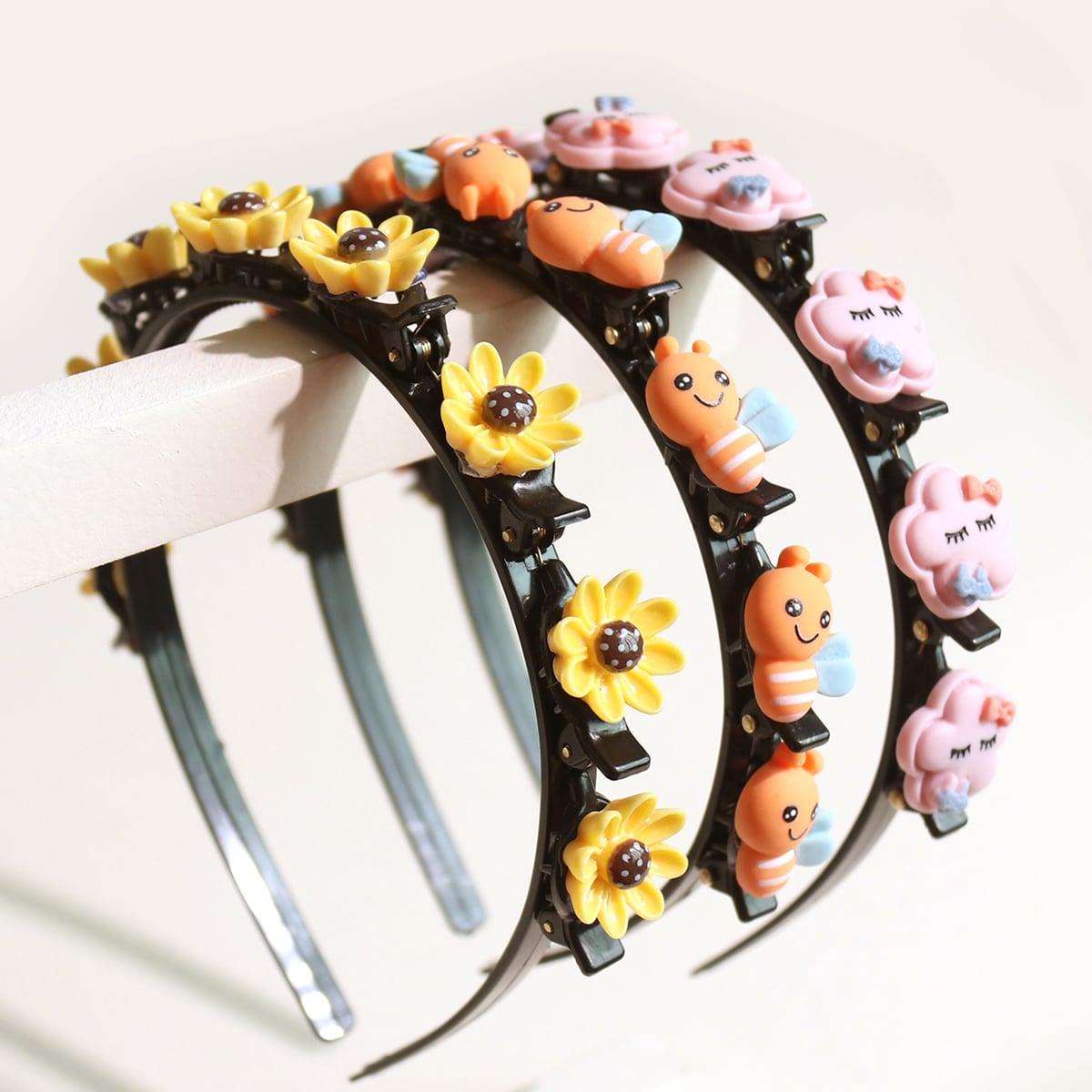 3pcs Toddler Girls Flower & Cartoon Decor Headband