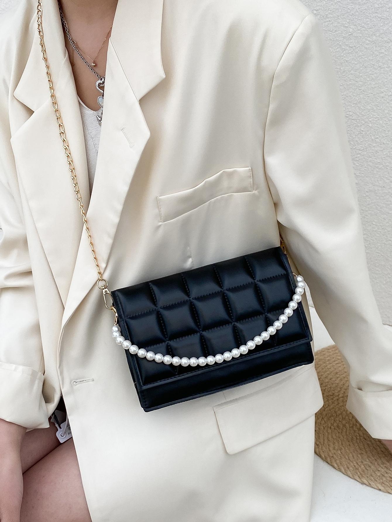 faux pearl decor crossbody bag