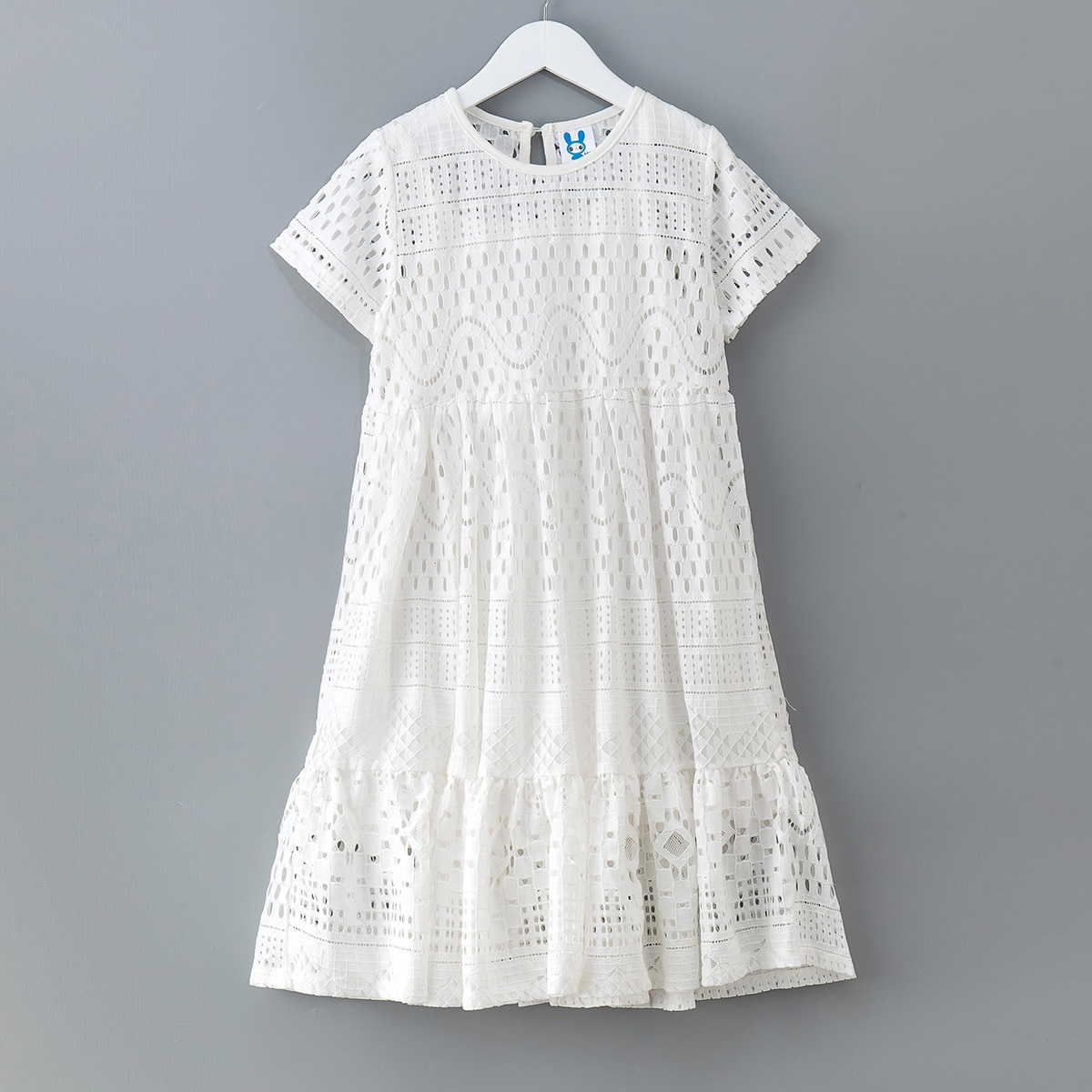 Girls Solid Ruffle Hem Smock Dress