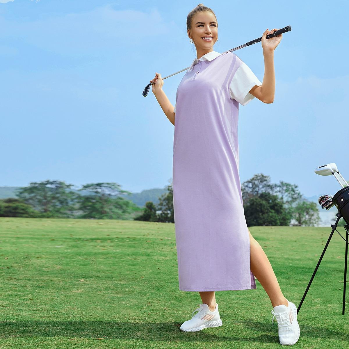 на пуговицах Контрастный цвет Спортивный Платье SheIn swdress25210408383