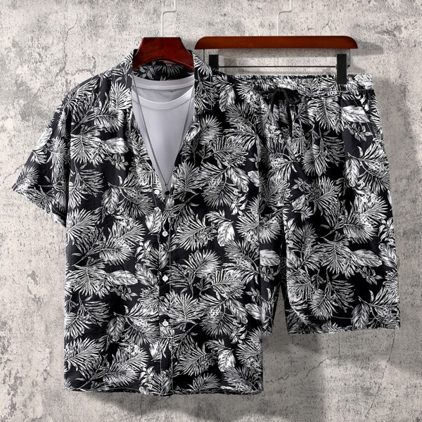 Men Random Plants Print Shirt With Shorts Without Tee, Black and white