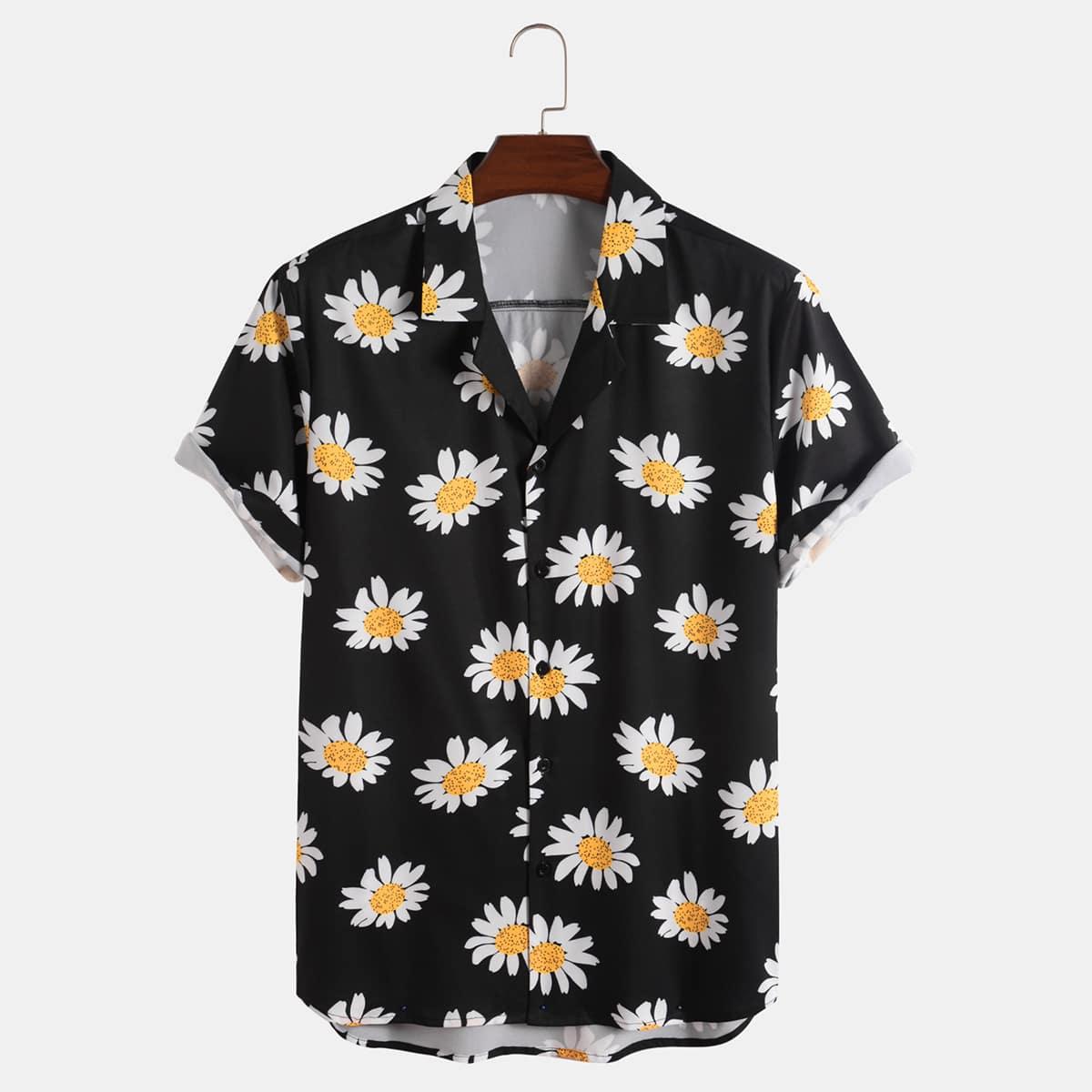 Men Daisy Print Button Through Shirt