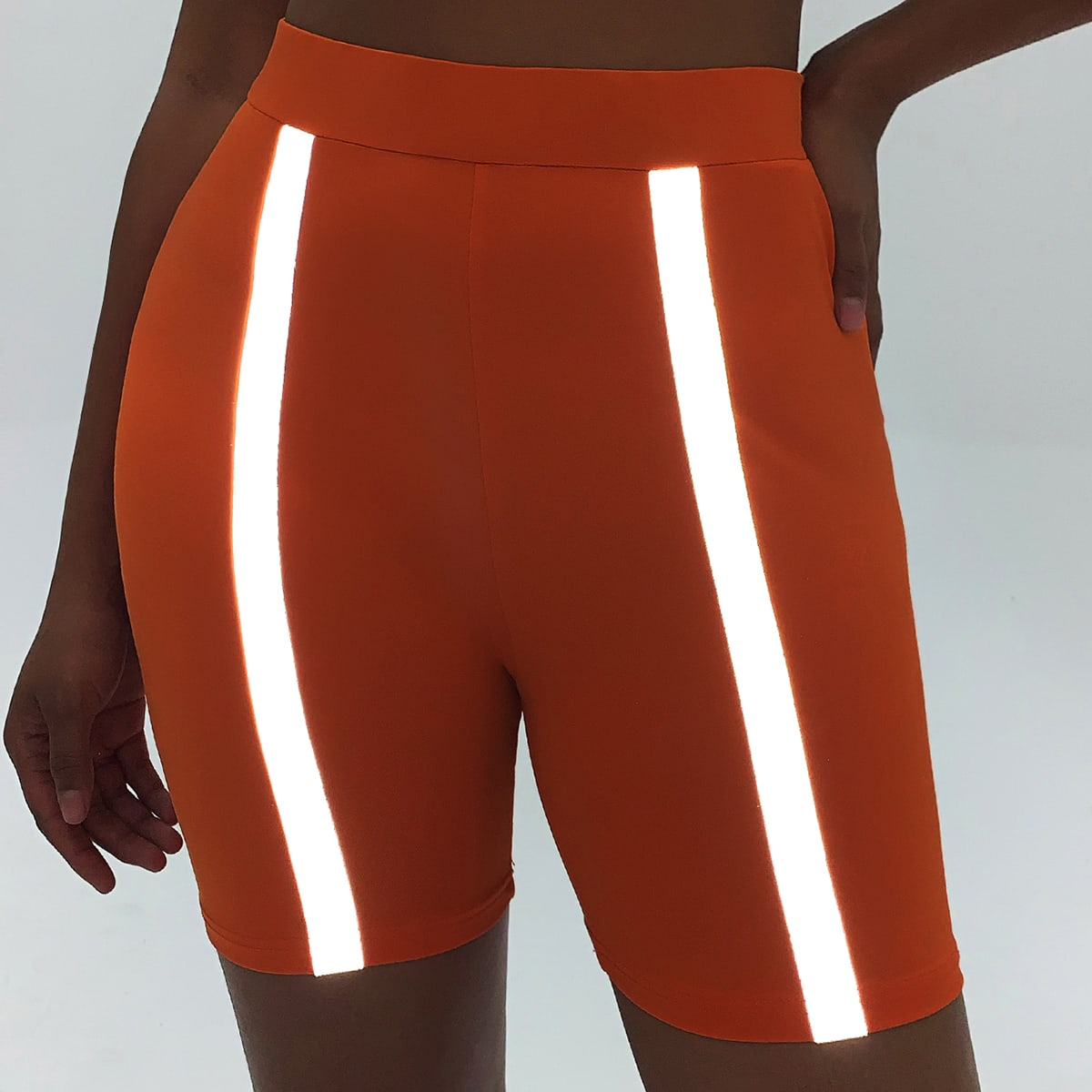 Reflected Taped Front Biker Shorts