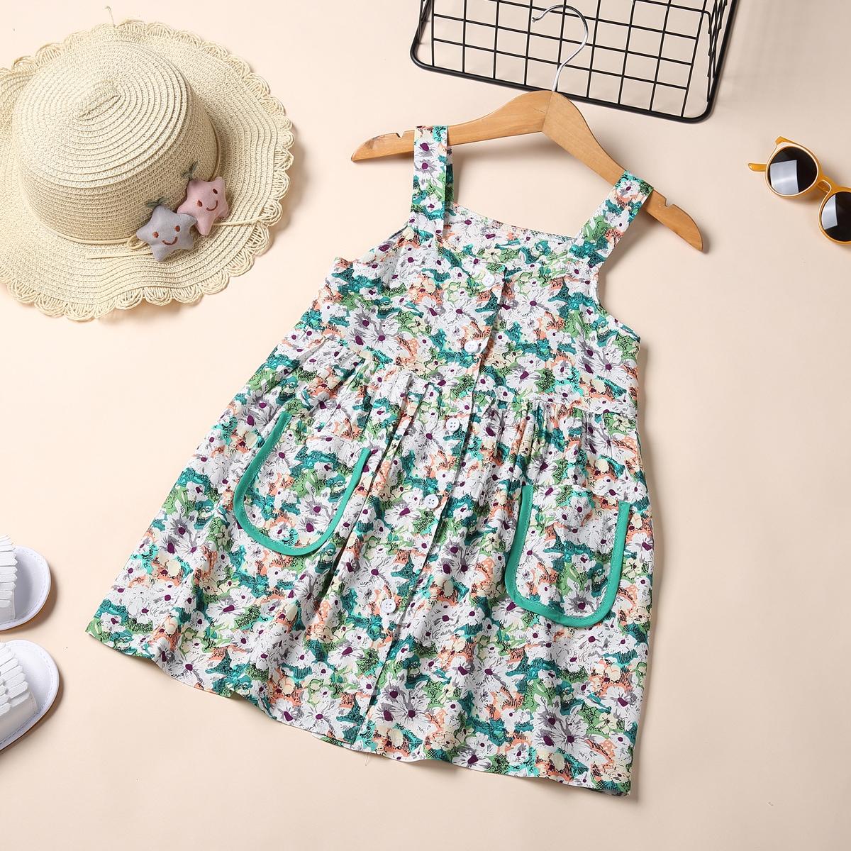 Toddler Girls Allover Floral Dual Pocket Cami Dress