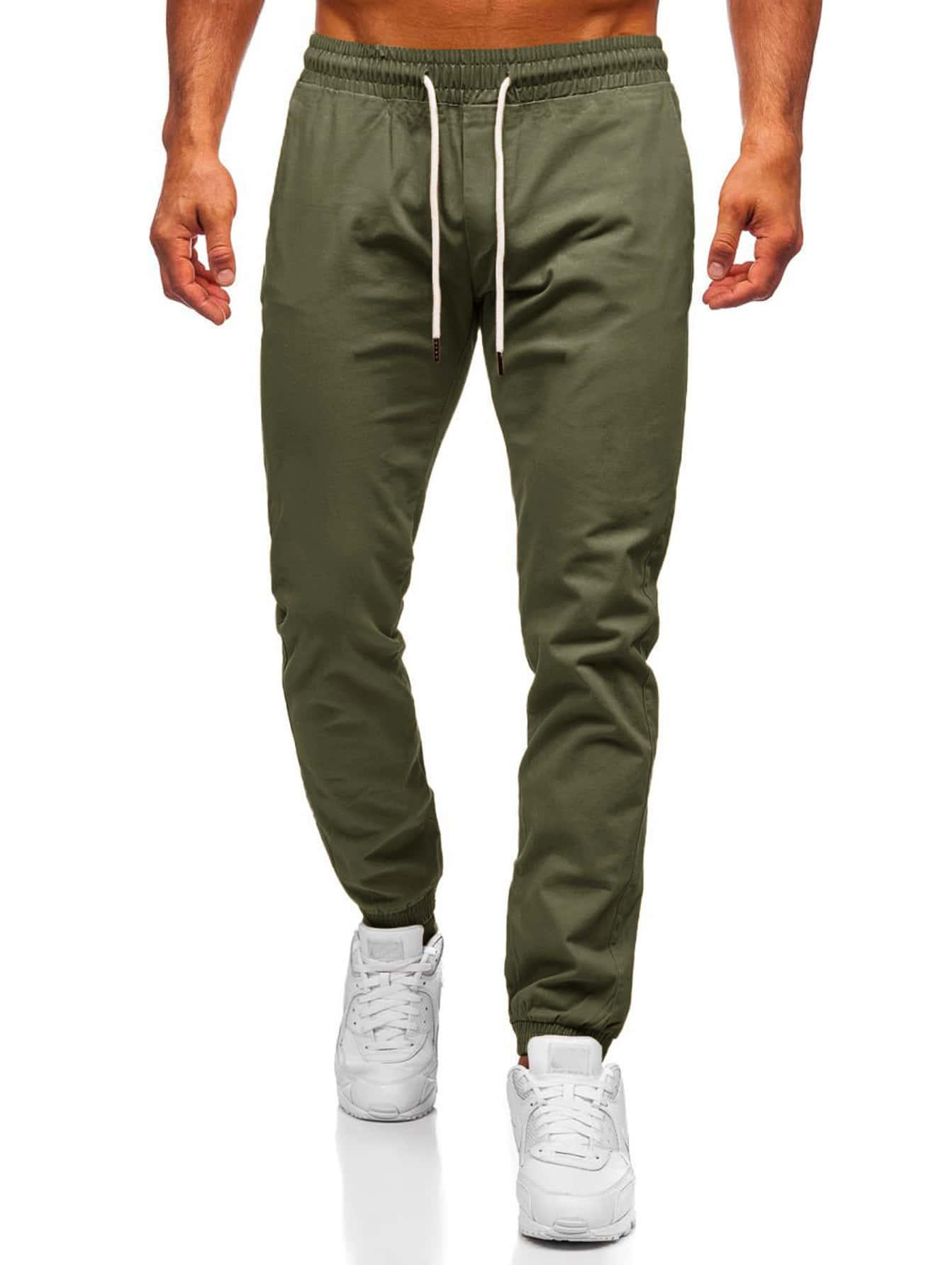 men drawstring waist tapered pants