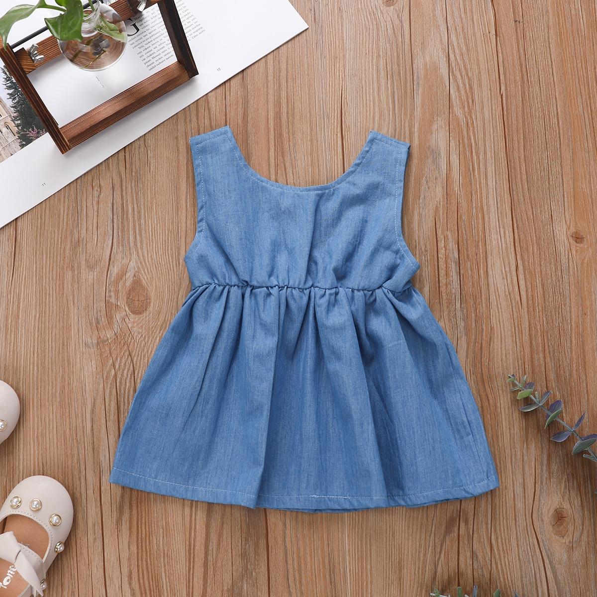 для девочек Джинсовое платье бантом от SHEIN
