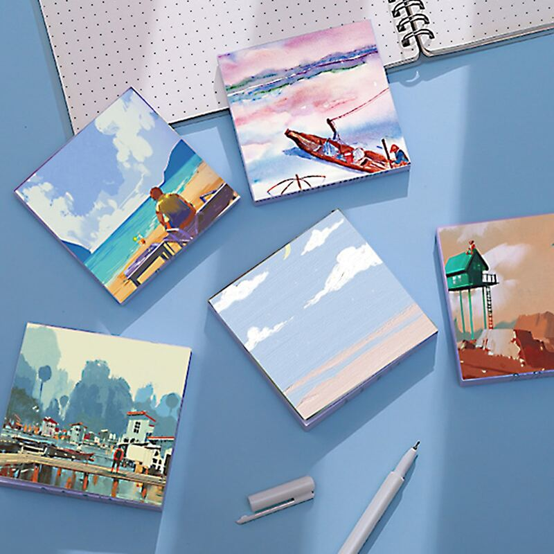 1pc Scenery Pattern Random Sticky Note, Multicolor