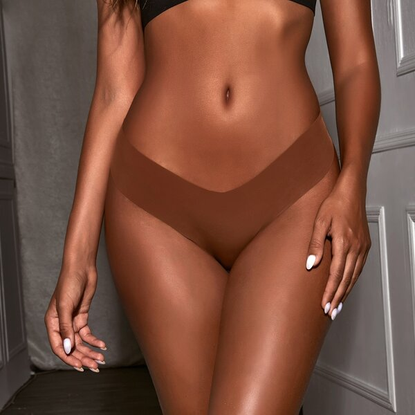 Plain No Show Soft To The Touch Comfortable Panty, Rust brown